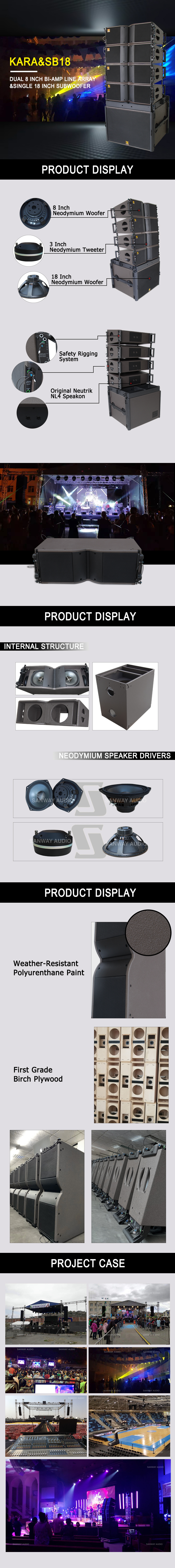 Kara line array and SB18 subwoofer details